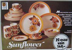 Auringonkukka-astiastot, mainos 70-luvulta