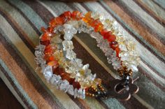 Handmade Carnelian Citrine and clear quartz multi by AndreaWueste, $15.00