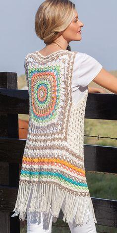 Transcendent Crochet a Solid Granny Square Ideas. Inconceivable Crochet a Solid Granny Square Ideas. Boho Crochet, Pull Crochet, Gilet Crochet, Crochet Vest Pattern, Crochet Woman, Crochet Beanie, Crochet Jacket, Crochet Cardigan, Crochet Fashion