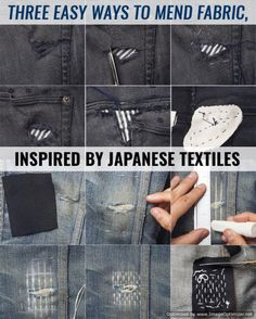 DIY Hacks for Ruined Clothes. Awesome Ideas, Tips and Tricks for Repairing Clothes and Removing Stains in Clothing  |  Three Easy Ways to Mend Fabric, Inspired by Japanese Textiles  |  http://diyjoy.com/diy-hacks-for-fixing-ruined-clothes