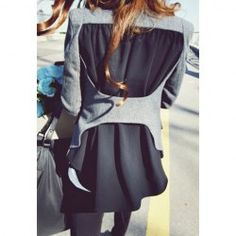 $20.18 Chiffon Stitching Asymmetrical Hem Shoulder Pad Worsted Color Matching Coat For Women