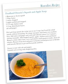 RuralistRECIPES - {Taste} Foodland Ontario Sqash and Apple Soup Apple Soup, Food Inspiration, Ontario, Soups, Dining, Fruit, Recipes, Dinner, Food