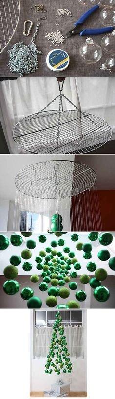 Create a hanging ornament structure that resembles a tree.