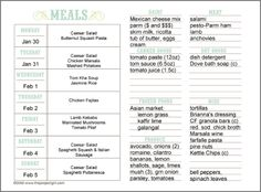 Weekly Meal Plan printables. I love this format!