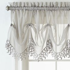 Home Expressions Lisette Sheer Macramé Tuck Valance Bay Window Curtains Living Room, Bathroom Window Curtains, Home Curtains, Modern Curtains, Kitchen Curtains, Valance Curtains, Drapery, Country Window Treatments, Room Partition Designs