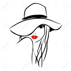 This Image Is A Vector Illustration Of Long Hair Girl Wearing A Large Floppy Hat. Drawing Stylized And Minimalist. Womans Lips Are Red While On A White Background, The Drawing Lines Are Black. Royalty Free Cliparts, Vectors, And Stock Illustration. Art And Illustration, Dessert Illustration, Girl Illustrations, Images D'art, Images Of Girls, Art Du Croquis, Girl Sketch, Silhouette Art, Tattoo Girls