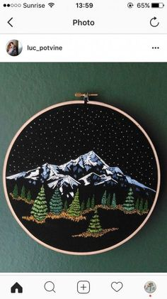 Ideas Embroidery Hoop Art Mountains For 2019 – Handstickerei Embroidery Designs, Embroidery Hoop Art, Hand Embroidery Patterns, Cross Stitch Embroidery, Cross Stitch Patterns, Simple Embroidery, Embroidery Tattoo, Creative Embroidery, Modern Embroidery