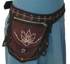 Lotus Woolen Utility belt  - Hip Bag - Pocketbelt - Felted Belt Bag - Festival Bag - Pouch