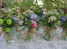 For a spring rehearsal dinner....an English garden in a jar by Jars of Flowers