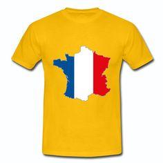 T-shirt Jaune France bleu blanc rouge Carte de France drapeau Français