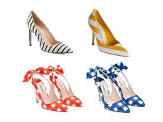 The printed shoes. From top left: Manolo Blahnik navy/white stripes pumps (saks), yellow/white stripes (barneys), Miu Miu red/white and blue/whitevichy sling-backs