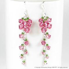 Cascading Tea Rose Crystal Earrings