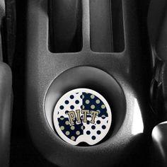 Pittsburgh Panthers Polka Dot Car Coaster