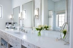 Rustic Whitewashed Washstand with Three Mirrors - Country - Bathroom Small Bathroom Vanities, Bathroom Sink Vanity, Large Bathrooms, Dream Bathrooms, White Bathroom, Amazing Bathrooms, Bath Mirrors, Serene Bathroom, Sinks
