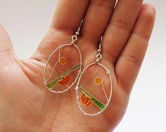 Fragile Flowers Silver plated earrings Art Nouveau by ZsaMo