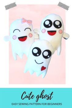 Cute, friendly and easy to make ghost sewing pattern, kids will love. This little friendly ghost with the BIG heart is a perfect companion for little ones that need someone by their side to feel a bit safer in this world – during the dark night hours or during the day outside the home. This fellow will be interesting for newborns because of the strong colors and sharp lines, babies can see well. #ghost #plushie #halloweencraft Felt Crafts Patterns, Plushie Patterns, Easy Sewing Patterns, Easy Sewing Projects, Stuffed Toys Patterns, Sewing Toys, Baby Sewing, Cute Ghost, Dark Night