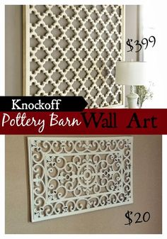 Knock off Pottery Barn's lattice wall art using a low-cost rubber doormat.