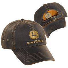 4861b3ff9d5 John Deere Adult Leather Look Cap -