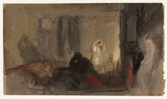 Joseph Mallord William Turner - Three Figures in a Darkened Room: A Recollection of Petworth, (1840), Gouache, graphite and watercolour on paper,  131 x 227 mm