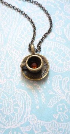 cup of joe necklace  antique bronze coffee by RaleighWoodTreasures, $8.50
