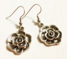 Earrings  Silver Flower Charms  Simplicity  by CraftyChic90, $4.00