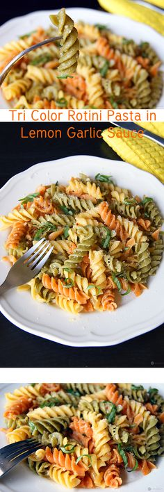 "Pasta can help you make a quick, fancy and delicious dinner. This ""Tri Color Rotini Pasta in Lemon Garlic Sauce"", is very easy to make, uses very less number of ingredients, looks cute but brings bold flavors to the table."