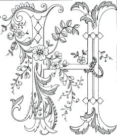 Fancy monogram: Link to Antique Pattern Library, all letters available...H IS FOR HEIDI!