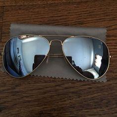 ray ban mirrored aviators polarized  Gradient Aviator Sunglasses, Golden/Blue, Size: 62MM, Gold/Blue ...