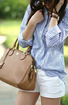 Blue and white striped oxford with a cognac Tory Burch bag