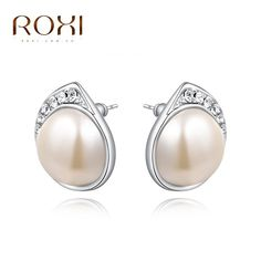 2017 ROXI Brand Milky Pearls Crystal Stud Earrings Rose Gold Color Wedding Beads Jewelry For Romantic Mother's Gifts #Affiliate