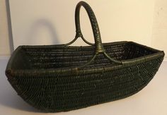 Vintage  Wicker shopping /log / flower Basket Green 1930 s 40 s  Made in England