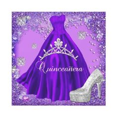 Quinceanera 15th Party Purple Tiara Dress Shoe Invitation by Zizzago