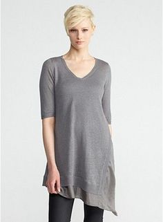 Plus Size V-Neck Elbow-Sleeve Tunic in Linen Silk Jersey with Silk Habutai