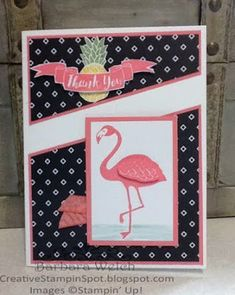 Creative Stampin' Spot: Stampin Friends June Blog Hop - Pop of Paradise - Pop of Pink DSP Thank U Cards, Bee Cards, Flamingo Bird, Birthday Cards For Women, Stampin Up Catalog, Cricut Cards, Stamping Up Cards, Scrapbook Cards, Scrapbooking