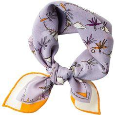 Rumisu Lilac Silk roarr...foulard Bandana Neckerchief ($101) ❤ liked on Polyvore featuring accessories, scarves, fillers, pure silk scarves, bandana scarves, silk shawl, silk bandana and embroidered handkerchief