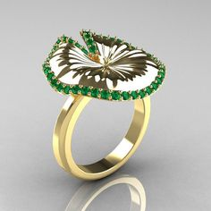 10K Yellow Gold Emerald Water Lily Leaf Wedding Ring, Engagement Ring... ($1,359) ❤ liked on Polyvore featuring jewelry, rings, yellow gold engagement rings, emerald ring, gold anniversary rings, gold wedding rings and engagement rings