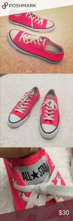 Converse neon pink shoes (8 women's) (6 men's) Women's neon pink converse shoes size 8 women's, 6 men's, very good condition please check pictures.... selling neon green ones and printed high top ones, check my closet ...... converse Shoes Sneakers