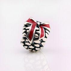 Pigna con fiocco in smalto rosso 100% argento sterling 925 adatta a misure Pandora charm Pandora bead e Braccialetto europeo P-668 di OceanBijoux su Etsy