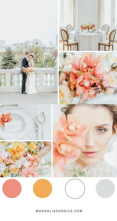 Top 5 Spring Wedding Color Palettes coral spring wedding, spring wedding palette, living coral pantone color of the year, orange and yellow happy color palette for spring, wedding inspiration Coral Wedding Colors, Unique Wedding Colors, Spring Wedding Colors, Spring Colors, Wedding Color Schemes, Spring Weddings, Wedding Orange, Sage Wedding, Magnolia
