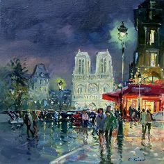 "Paris in Painting by Robert RIcart French Artist - ""Notre Dame at Night"" Art And Illustration, Paris Kunst, Paris Art, Figure Painting, Painting & Drawing, Maurice Utrillo, Paris Painting, Georges Seurat, Edward Hopper"