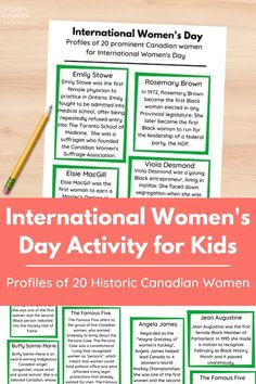 Discover the names and stories of 20 historic Canadian women who paved the way for women of today. This free printable fact sheet is a great International Women's Day activity for kids. #internationalwomensday #howtocelebrateinternationalwomensday #internationalwomensdayactivity #feministactivityforkids #canadianhistoryforkids #canadianwomen #canadianwomenactivity #freeprintable #kitchencounterchronicles Women Facts, Gender Inequality, Canadian History, Fiction And Nonfiction, Women's History, Ladies Day, Book Lists, Teaching Kids, Good Books