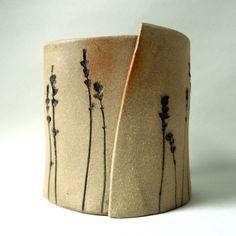 Organic lavender planter by OrganicCeramic on Etsy stamps like feather, florals, scolls, texture
