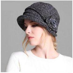 baf0f04257f Women knitted bucket hat for winter warm flower hats