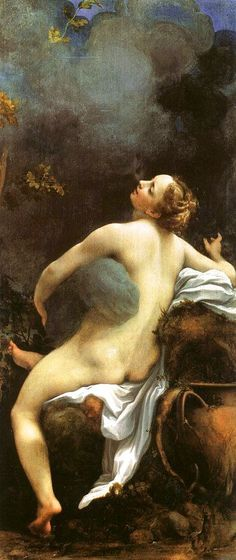 Jupiter und Io /// In Greek mythology, Io was the daughter of Inachus, a river god. This painting by Correggio depicts her abduction by Zeus, who took the form of a cloud so as not to be found out by his jealous wife Hera.