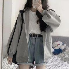 korean girl fashion Hoodies For Girls Coats Hooded long Sleeve Jumper Hooded Pullover GoFashionova Teen Fashion Outfits, Mode Outfits, Retro Outfits, Cute Fashion, Girl Outfits, Fashion Men, Fashion Fall, Fashion Edgy, Child Fashion