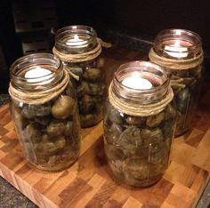 jars as candle holders | Mason Jar River Rock Tea Candle Holders by PistolPetesSurvival, $35.00