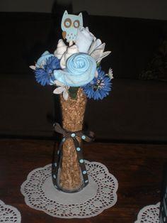 Owl Bootie Washcloth Bouquet Diaper Cake Baby Shower Centerpieces