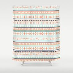 """Mint and Coral Tribal Shower Curtain, 70""""x70"""""""