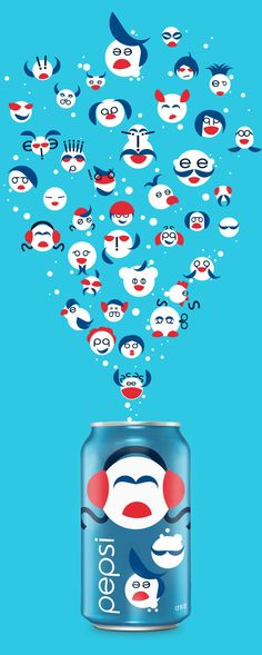 PEPSI Funny Characters by Hugo Silva, via Behance