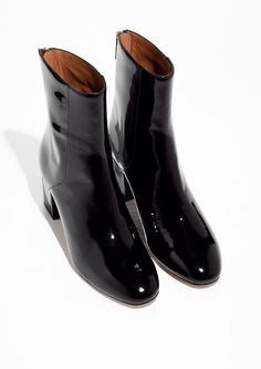 & Other Stories image 2 of Patent Leather Zipper Boots in Black